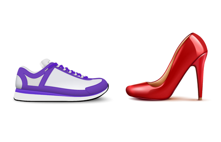 Sneakers vs high heels realistic composition showing growing popularity of woman comfortable casual footwear vector illustration Illustration