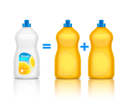 Detergent advertising realistic composition with promoting of new brand bottle compared to others cleaning agent vector illustration