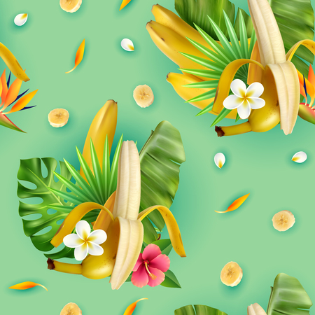 Realistic banana pattern with compositions of banana fruit tropical leavrs flowers and slices with turquoise background vector illustration Ilustração Vetorial
