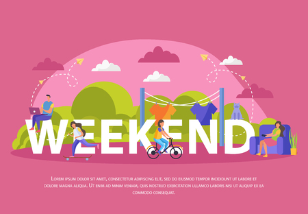 Lazy weekends people flat poster with big weekend headline and people sit on it vector illustration Archivio Fotografico - 126871225