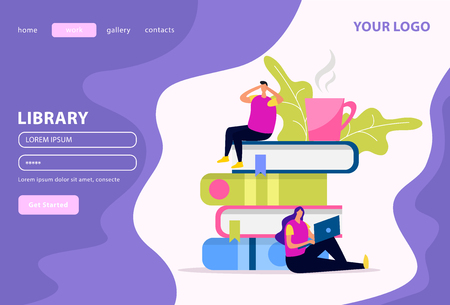 Library web landing page human characters and stack of books on white violet background flat vector illustration