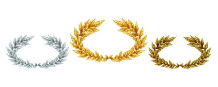 Gouden zilveren en bronzen lauwerkransen in realistische stijl als symbool sport prestatie geïsoleerde vectorillustratie Vector Illustratie