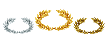 Golden silver and bronze laurel wreaths in realistic style as symbol sports achievement isolated vector illustration