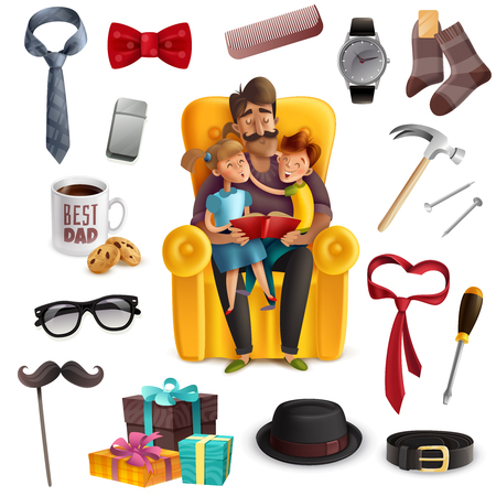 Happy fathers day celebration colorful composition with dad kids reading book together presents male accessories vector illustration