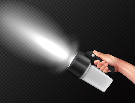 Modern powerful high lumen handheld torch flashlight in hand realistic composition against dark transparent background vector illustration