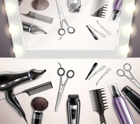 Hairdress tools for hairstyle and haircut top view realistic vector illustration Standard-Bild - 126815813