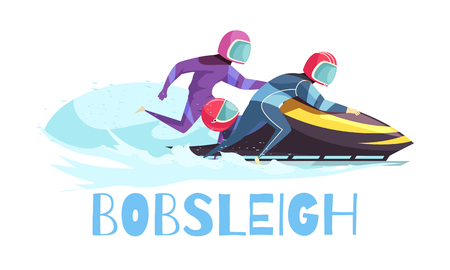 Bobsleigh sports concept with training and championship symbols flat vector illustration Illustration