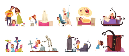 Childhood fears set with ghosts and doctors symbols isolated vector illustration