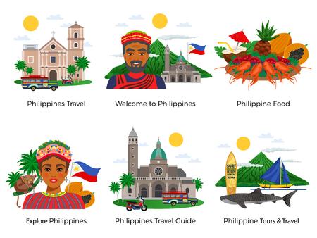 Filippijnen reeks reissamenstellingen met de nationale klederdracht van het architectuurvoedsel en het wilde leven geïsoleerde vectorillustratie