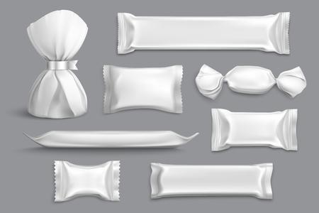 L'imballaggio della caramella fornisce la raccolta in bianco isolata dei campioni del modello del mockup dei prodotti con l'illustrazione realistica di vettore del fondo grigio degli involucri della stagnola