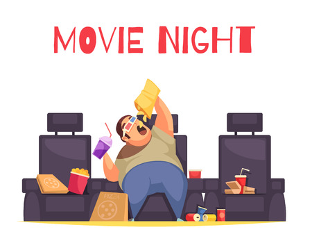 Movie night concept with gluttony and overeating symbols flat vector illustration