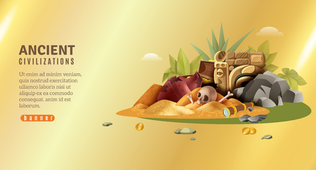 Archeology horizontal banner with editable text and pile of ancient civilization findings on golden gradient background vector illustration Illustration
