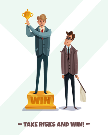 Investor business winner loser characters men background with two male businessmen characters take risks and win vector illustration