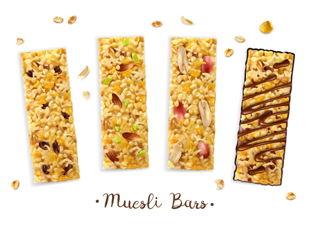 Realistic superfood muesli bars composition with set of four rectangular bars with different toppings and text vector illustration