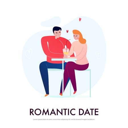 Young couple having romantic date in cafe flat vector illustration