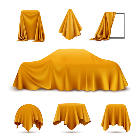 Golden silk cloth covered objects realistic set with draped frame car hanging napkin tablecloth curtain vector illustration