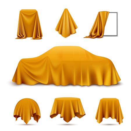 Objetos cubiertos de tela de seda dorada conjunto realista con marco drapeado coche colgando servilleta mantel cortina ilustración vectorial