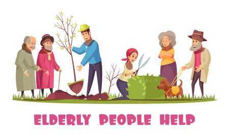 Volunteers helping elderly people with planting trees trimming hedges gardening chores flat cartoon horizontal composition vector illustration