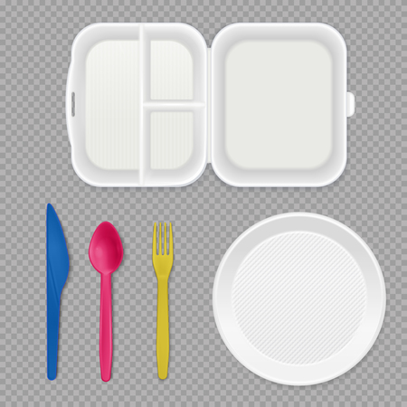 Disposable white plastic plate lunchbox and colorful cutlery top view realistic tableware set transparent background vector illustration Illustration