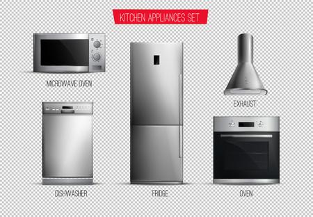 Satz realistischer zeitgenössischer Küchengerätevorderansicht lokalisiert auf transparenter Hintergrundvektorillustration