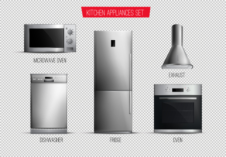 Set of realistic contemporary kitchen appliances front view isolated on transparent background vector illustration