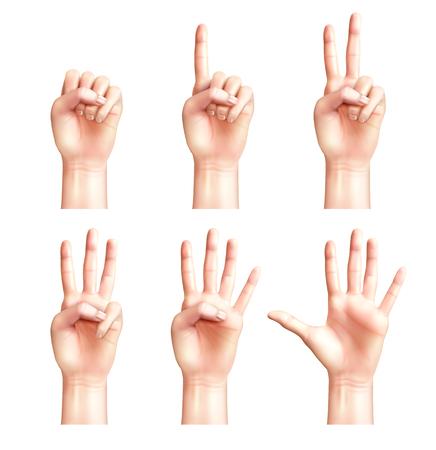 Sechs Gesten realistischer Menschenhände mit Fingern, die von null bis fünf isolierte Vektorillustrationen zählen Vektorgrafik