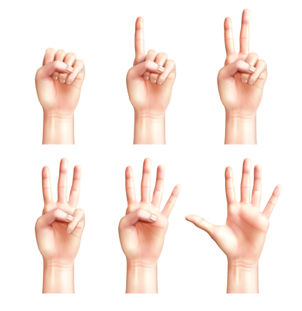 Six gestures of realistic people hands with fingers counting from zero to five isolated vector illustration