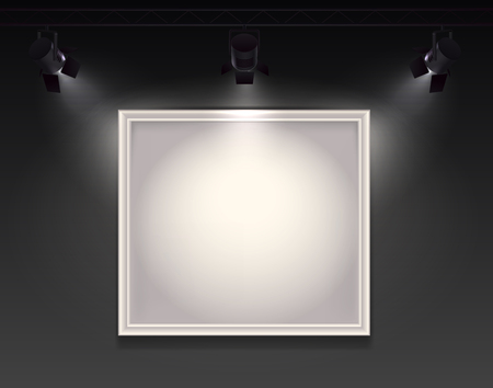 Spotlights realistic composition with view of wall with hanging empty frame highlighted by three spot lights vector illustration 스톡 콘텐츠 - 126815833