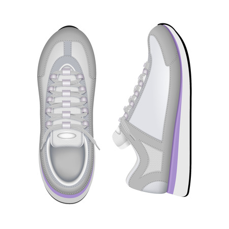 Sport training running sneakers trendy white tennis shoes top and side closeup view realistic composition vector illustration