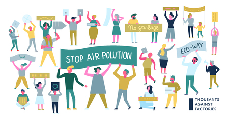 Mensen die met eisen op plakkaten protesteren tijdens ecologische actie die op witte vlakke vectorillustratie wordt geïsoleerd als achtergrond