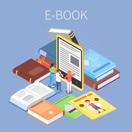Concetto di biblioteca con illustrazione vettoriale isometrica di simboli di lettura online e di ebook