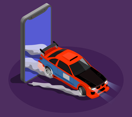 Car tuning isometric design concept symbolizing drift race by burnout car leaving screen of smartphone vector illustration Stock Vector - 113844652