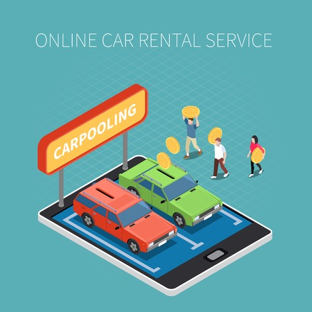 Car rental isometric concept with online service symbols vector illustration Ilustrace