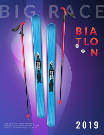 Colored purple realistic biathlon vertical poster big race biathlon headline and ski vector illustration
