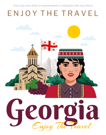 Georgia travel agency tourists guide flat advertisement invitation poster with national flag grape landmarks clothing vector illustration