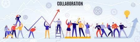 Büroteamwork-Konzept mit Leuten, die flache horizontale Vektorillustration zusammenarbeiten Vektorgrafik