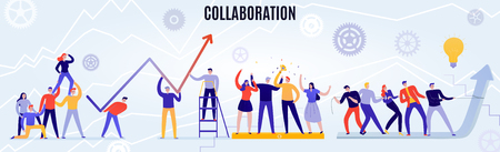 Office teamwork concept with people working together flat horizontal vector illustration Vector Illustration