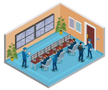 Security systems isometric composition with cctv surveillance cameras monitoring and responding operators officers room interior vector illustration Standard-Bild - 113844693