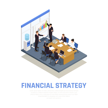 Investment strategies of fund managers isometric composition with financial growth benefits and risks evaluating presentation vector illustration