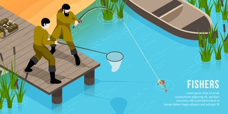 Fishers on wooden pier with tackles during fish catching isometric horizontal vector illustration Illustration
