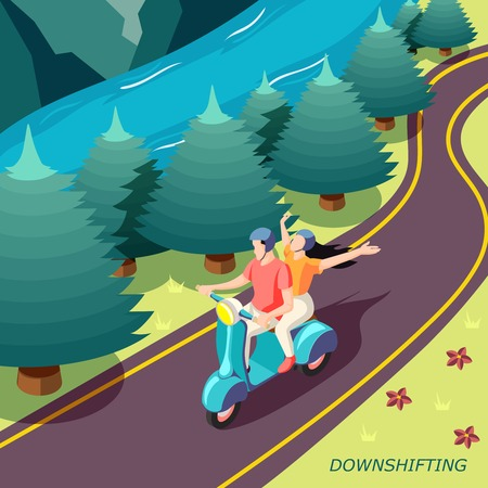 Downshifting escaping busy stressful life isometric country landscape background poster with happy couple on motorbike vector illustration
