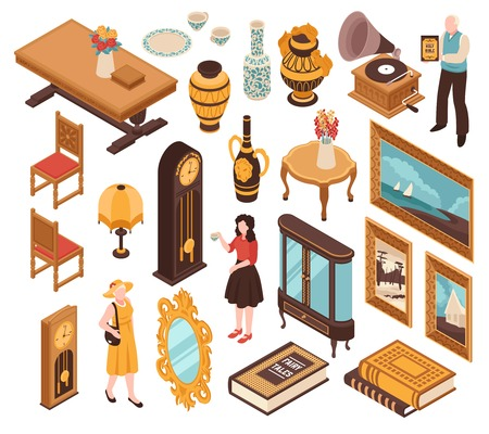 Antiquarian isometric set of vintage furniture striking clocks old books and items for home interior isolated vector illustration
