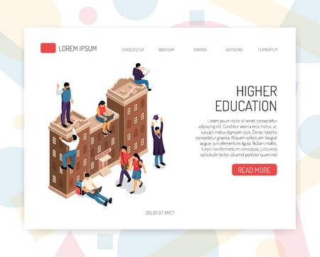 Higher education institutions career colleges universities campus academic degrees professional certificates isometric concept website design vector illustration
