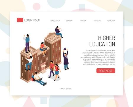 Instituciones de educación superior colegios profesionales universidades campus títulos académicos certificados profesionales concepto isométrico diseño de sitios web ilustración vectorial