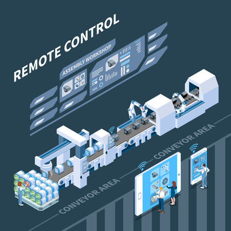 Smart industry isometric composition with remote control of conveyor system on dark background vector illustration Illustration