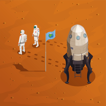 Mars exploration design concept with two astronauts in spacesuit walking on surface of red planet vector illustration
