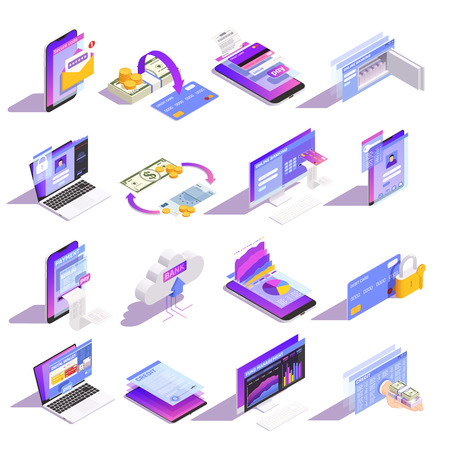 Internet online mobile banking services isometric icons collection with loading money onto card building credit vector illustration