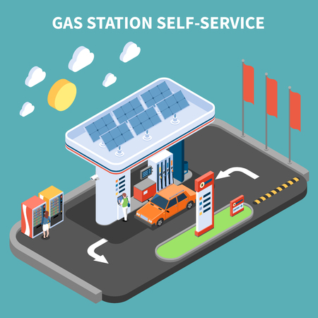 Self service at gas station with payment terminal and vending machine isometric composition turquoise background vector illustration