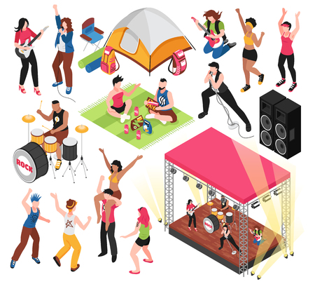 Open air music festival set with human characters of fest visitors and musicians isolated vector illustration