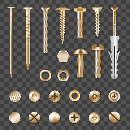 Set of realistic metal golden fasteners isolated on transparent background vector illustration Çizim